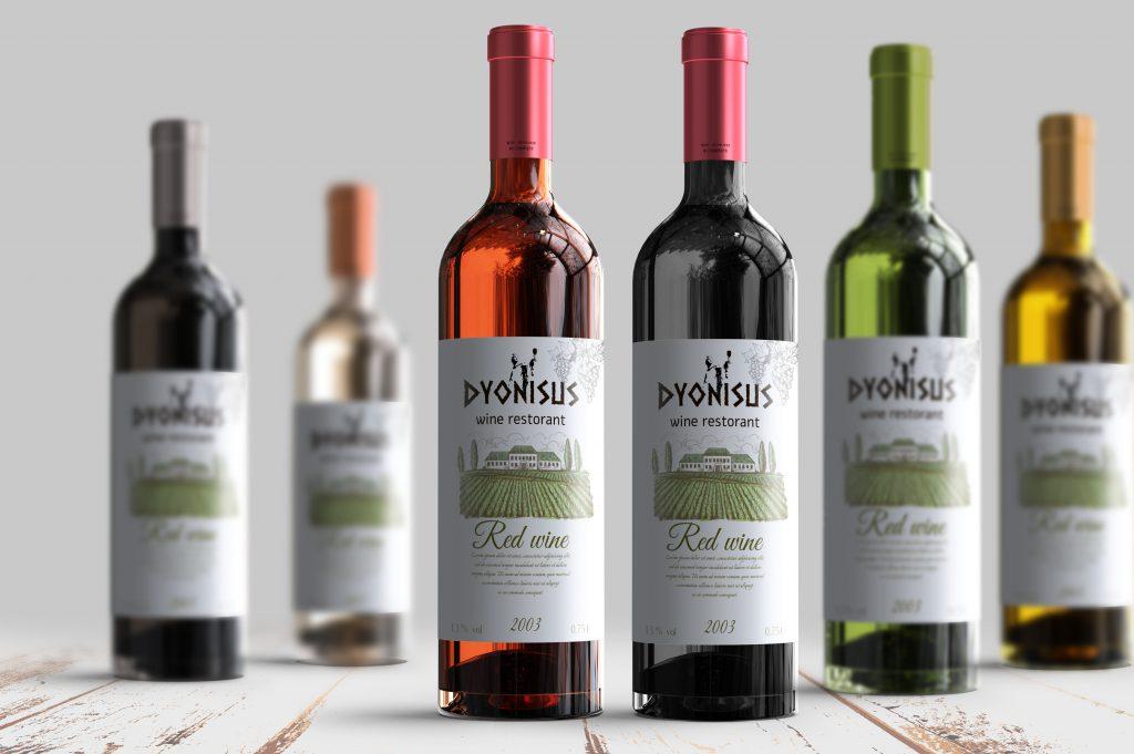 מיתוג עסק יינות בקבוקים סטודיו מגה דזיין