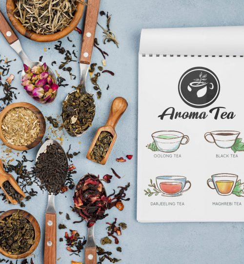 לוגו ארומה תה עיצוב סטודיו מגה דזיין